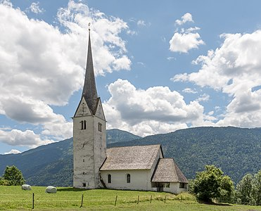 Northwestern view of the subsidiary church Saint Henry the Emperor in Görtschach, Hermagor, Carinthia, Austria