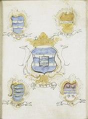 Het wapen van Jacob de Witte, vader van Laurens Jacobsz de Witte, met de wapens van zijn vier grootouders