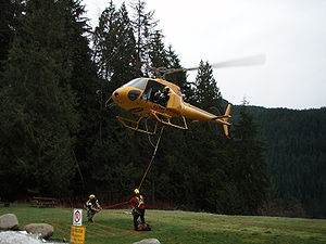 Helicopter Flight Rescue System - A rescue in progress.