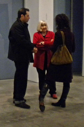 Bernd and Hilla Becher - Hilla Becher (center) discussing her and her late husband's work at the Sonnabend Gallery in Chelsea, New York City, October 2010