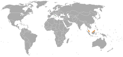Map indicating locations of Holy See and Malaysia