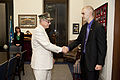 Honorary Marine Daran Wankum, right, visits with Kansas Sen. Pat Roberts at his office in the National Capitol Building in Washington, D.C., June 13, 2013 130613-M-KS211-075.jpg