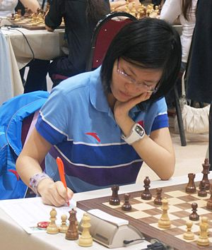 Women's World Chess Championship 2013 - Image: Hou Yifan 4 September 2012
