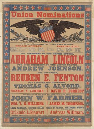 New York state election, 1864 - Campaign poster featuring Union nominations, 1864