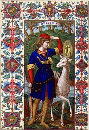 Jägermeister - An icon of Saint Hubertus depicting his vision of a cross between the antlers of a stag.