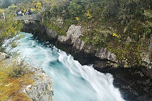 Waikato River - The Waikato River draining into Huka Falls in Taupo