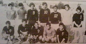 Hussein Saeed - Saeed (the middle from standing) wearing the number 10 with Al-Iskan Youth Center in 1972
