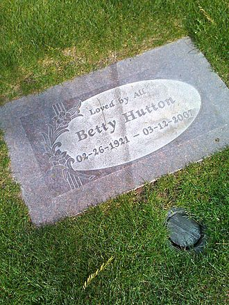 "Betty Hutton - Betty Hutton's headstone at Desert Memorial Park in Cathedral City, California - her epitaph reads ""Loved by All""."