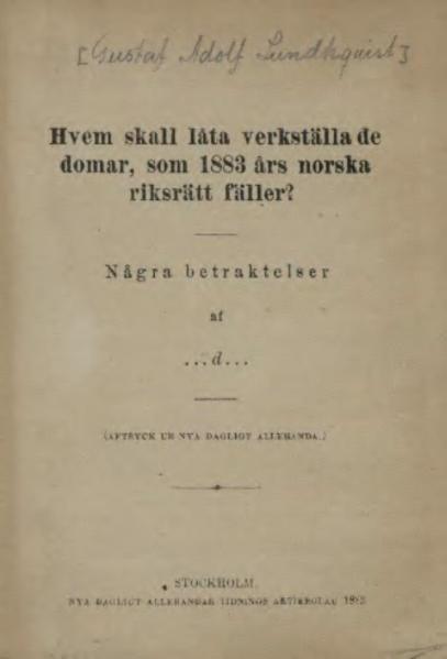 File:Hvem skall låta vekställa de domar som norska riksrätt fäller.djvu