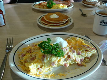 Breakfast featuring an omelette at an IHOP res...