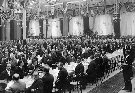 Annual dinner of the Institution of Mechanical Engineers held in the carriage works of the Midland Railway at Derby in 1898. Samuel Johnson, the railway's Chief Mechanical Engineer was the institution president. IMechE dinner 1898 Derby.jpg
