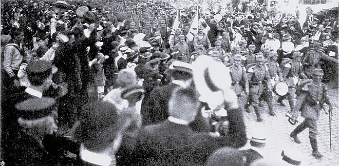 "German soldiers parading through Lübeck in the days leading up to World War I. Johann Plenge's concept of the ""Spirit of 1914"" identified the outbreak of war as a moment that forged nationalistic German solidarity IR Lübeck 033 - EB.jpg"