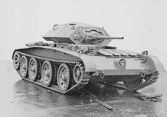 Covenanter tank - A pilot model. The radiator covers are at the left front. Note also the Valentine-type gun mantlet. Most production Covenanters had a different type of mantlet