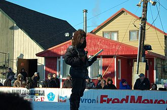 KTUU-TV - Megan Baldino, former reporter and anchor, waits to begin her report from Front Street in Nome during the 2007 Iditarod.