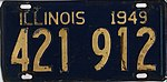 Illinois 1949 license plate - Number 421 912.jpg
