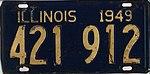 Illinois 1949 license plate - Number 421 912.jpg