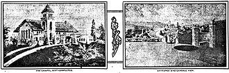 Inglewood Park Cemetery - Left, the chapel; right, entrance and general view, from a newspaper advertisement, 1907
