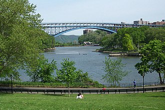 Harlem River - A southern meander of the Spuyten Duyvil Creek off the main channel, now a bay in Inwood Park, the Henry Hudson Bridge in background