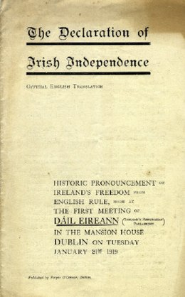 Cover page of the Declaration of Independence Irish Declaration of Independence.jpg