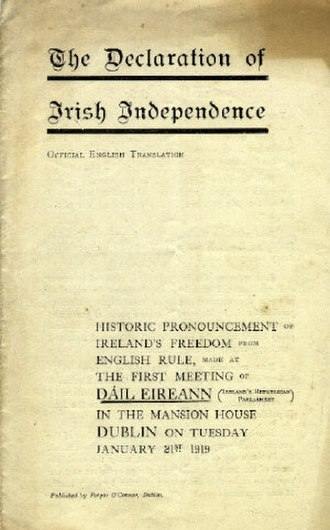 Irish Declaration of Independence - Cover page of the Declaration