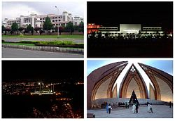 Clockwise from top: Faisal Mosque, Serena Hotel, Parliament House, Pakistan Monument, Night view of Islamabad, and Prime Minister's Secretariat