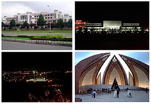 Clockwise from top: Faisal Mosque, Serena Hotèl, Parliament House, Pakistan Monument, Night view of Islamabad, and Prime Minister's Secretariat