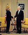 Israeli President Peres Shakes Hands With Secretary Clinton (4993151363).jpg