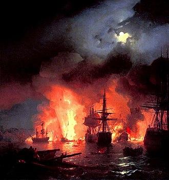 Battle of Chesma - The destruction of the Ottoman fleet on 7 July.