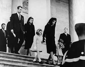 JFK's family leaves Capitol after his funeral, 1963.jpg