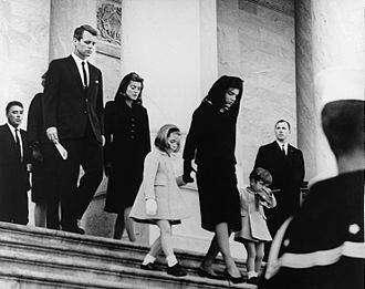State funeral of John F. Kennedy - Robert Kennedy and Patricia Kennedy Lawford following Jacqueline Kennedy as she leaves the United States Capitol with John F. Kennedy, Jr. and Caroline Kennedy, after viewing John F. Kennedy lying in state.