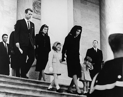 Robert Kennedy at the funeral of his brother, President John F. Kennedy, November 25, 1963 JFK's family leaves Capitol after his funeral, 1963.jpg