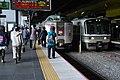 JRW 183 Hashidate and JRW 221 Sagano Line local at Kyoto Station (5501937499).jpg