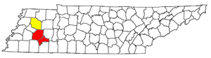 Jackson, Tennessee metropolitan area - Map of the Jackson-Humboldt Combined Statistical Area, with the Jackson Metropolitan Statistical Area highlighted in red