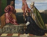 Jacopo Pesaro, bisschop van Paphos, door paus Alexander VI Borgia voorgesteld aan de heilige Petrus, Titiaan, (1503-1510), Koninklijk Museum voor Schone Kunsten Antwerpen, 357.jpg