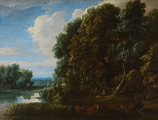 Landscape: Woodland with Lake and Figures