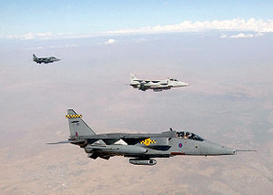 Three RAF Jaguars on a Northern Watch mission in 2002
