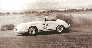James Dean and Porsche Speedster 23F at Palm Springs Races March, 1955