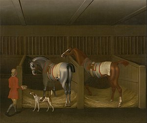 Marquess of Winchester - The Stables and Two Famous Running Horses belonging to His Grace, the Duke of Bolton, by James Seymour, 1747