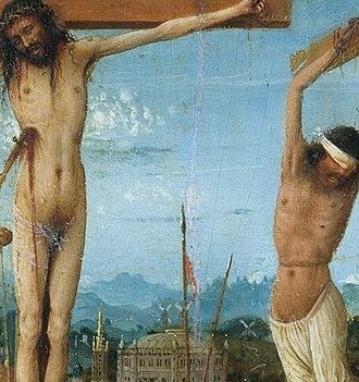 Crucifixion and Last Judgement diptych - Death of Christ on the cross. Typically, a crucifixion victim's legs were broken to hasten death. According to the Gospel of John, when soldiers came to break Jesus' legs, they found him already dead. A soldier pierced his side with a lance; blood and water poured from the wound.