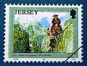 Jersey commemorative stamp showing William Mesny accompaning Gill to Burma, 1877.jpg
