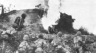 Battle of Bataan - Japanese flamethrower in action against a bunker on the Orion-Bagac Line