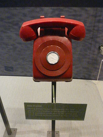 Hotline - A typical non-dial red phone used for hotlines. This one is a prop which is on display in the Jimmy Carter Library and Museum, erroneously representing the Moscow–Washington hotline.