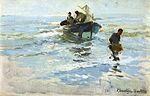 Joaquín Sorolla y Bastida - Recogiendo la Barca, Playa de Valencia (1909).jpg
