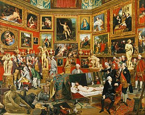 Work of art - Tribuna of the Uffizi, Johann Zoffany (1772-78), showing many famous works of European art