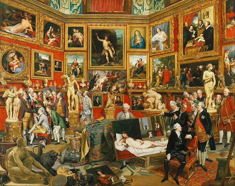 ohann Zoffany, Tribuna of the Uffizi (1772-1777), oil on canvas, Royal Collection.