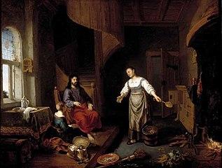 Jezus in het huis van Martha en Maria