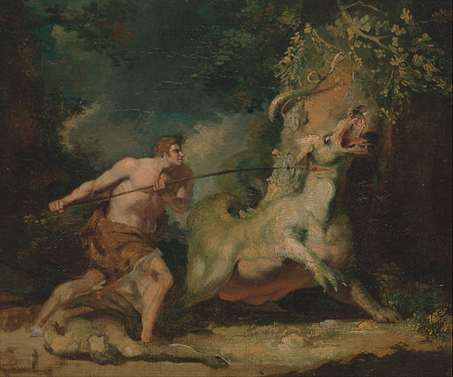 John Hamilton Mortimer - Man attacking a monster - Google Art Project