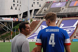 John Harkes - Harkes coaches defender Harrison Delbridge during a 2016 FC Cincinnati match.