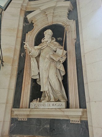 John of Matha - A John of Matha Saint sculpture from Mafra Palace, Portugal, main entrance