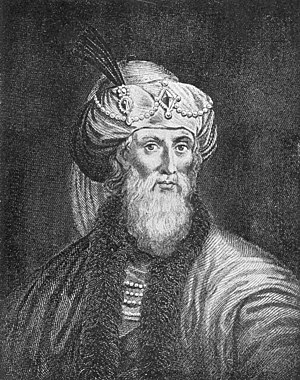 The romanticized woodcut engraving of Flavius ...